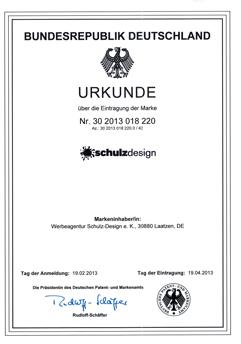 Werbeagentur Schulz-Design e.K. ist eine eingetragene Marke im Deutschen Patent- und Markenamt