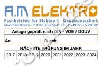 AM-Elektro-Aufkleber-Instandhaltung 85mmB x 55mmH