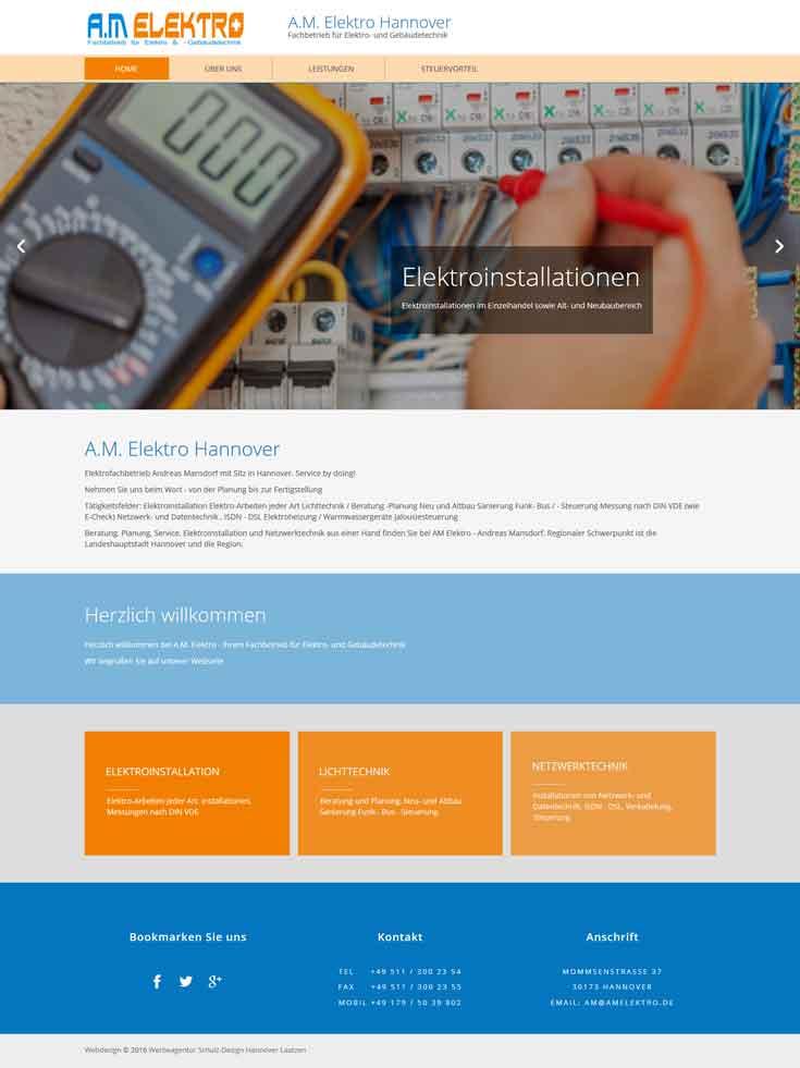 Webdesign AM Elektro Elektroinstallationen Gebauudetechnik, Hannover