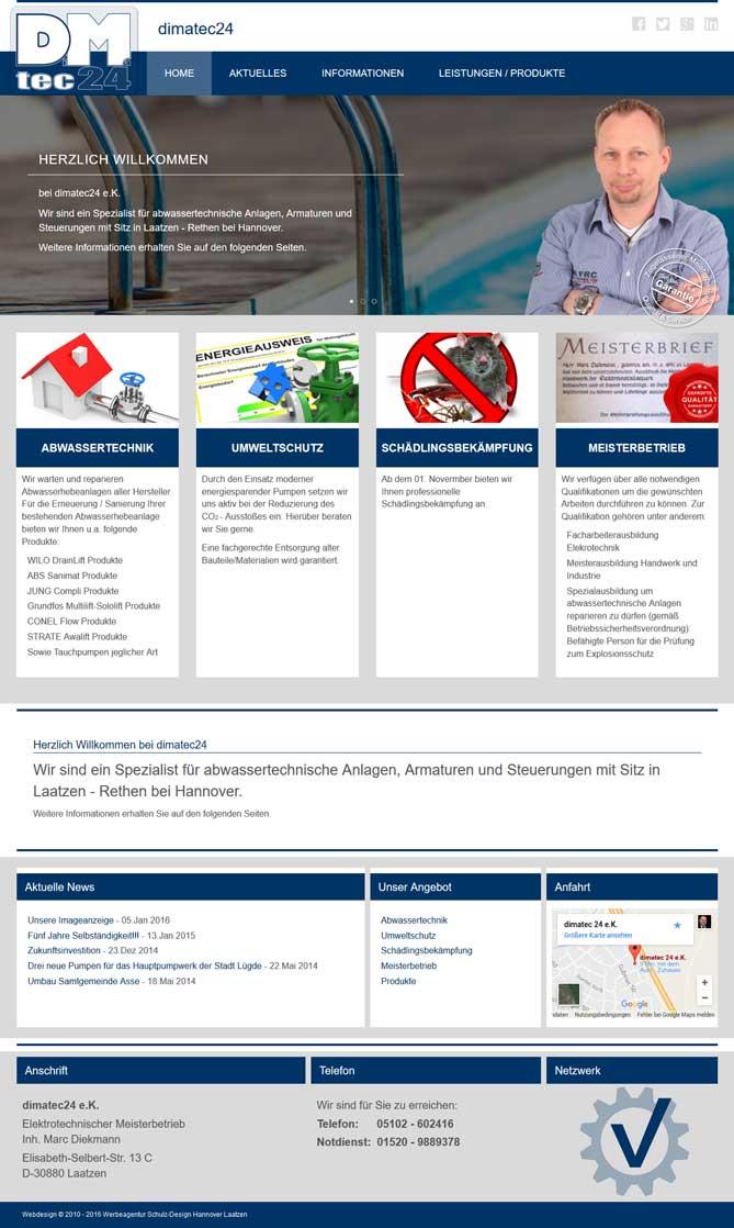 Webdesign Laatzen dimatec24 Abwassertechnik Marc Diekmann, Laatzen