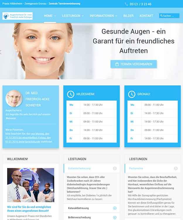 Webdesign Augenarztpraxis Dr. med. Friedrich-Acke Schreyer Augenarzt Hildesheim
