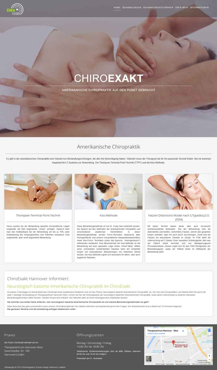 Webdesign Hannover - ChiroExakt Hannover Chiropraktiker Heilpraktiker Hannover