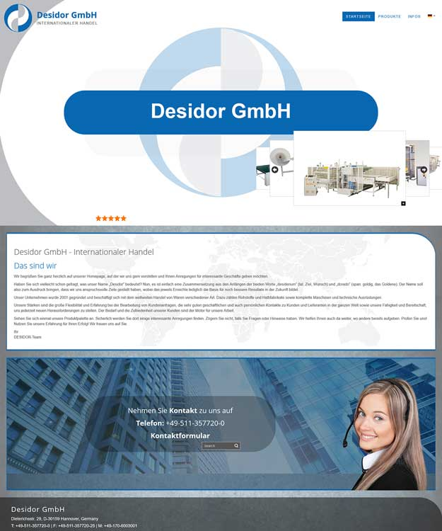 Werbeagentur Hannover - Homepage von Desidor Tex Tech - Internationaler Handel