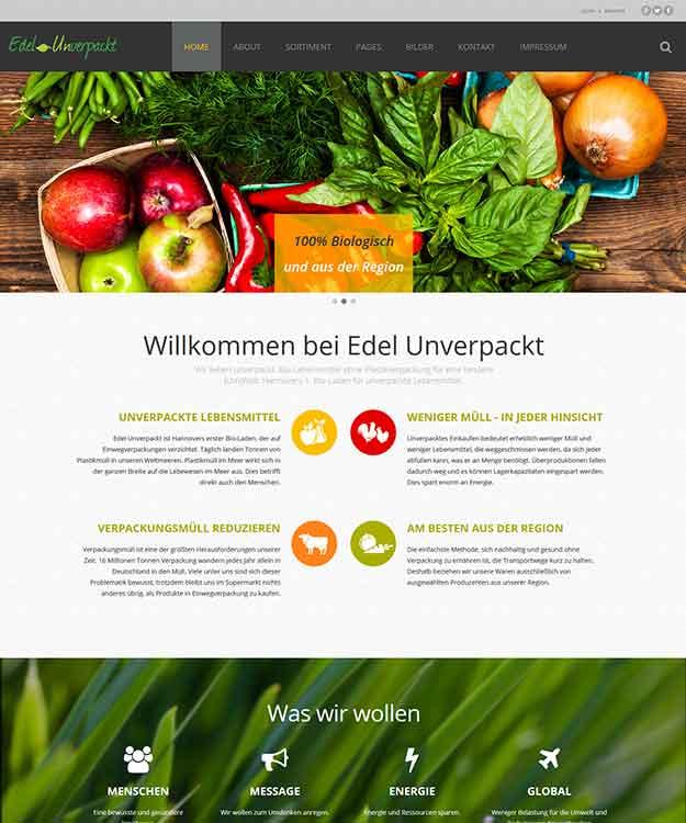 Webdesign Edel - Unverpackt, Hannovers 1. Bioladen für unverpackte Lebensmittel aus der Region Hannover