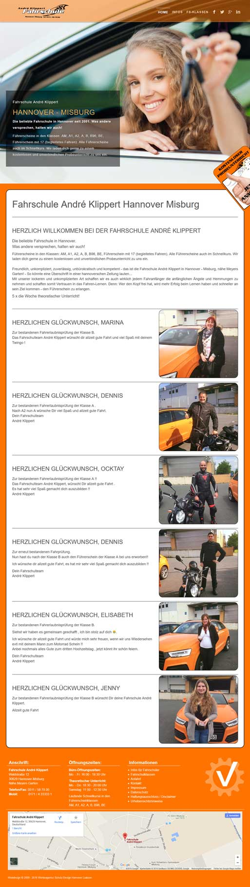 Webdesign Hannover - Fahrschule André Klippert Hannover Misburg mit neuer Webseite