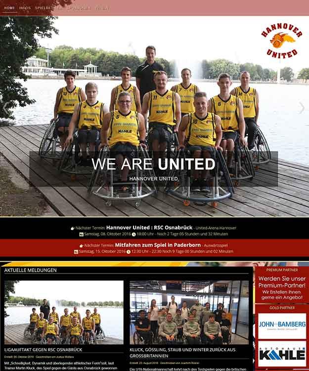 Die neue Homepage des Hannover United e.V. in der Rollstuhlbasketball-Bundesliga