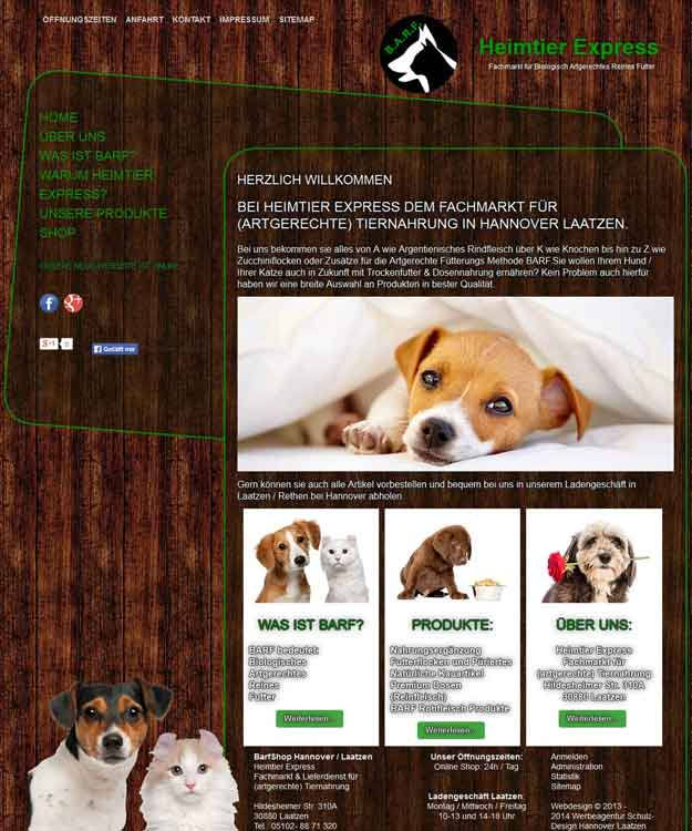 Webdesign Heimtier Express Fachmarkt für artgerechte Tiernahrung, Laatzen