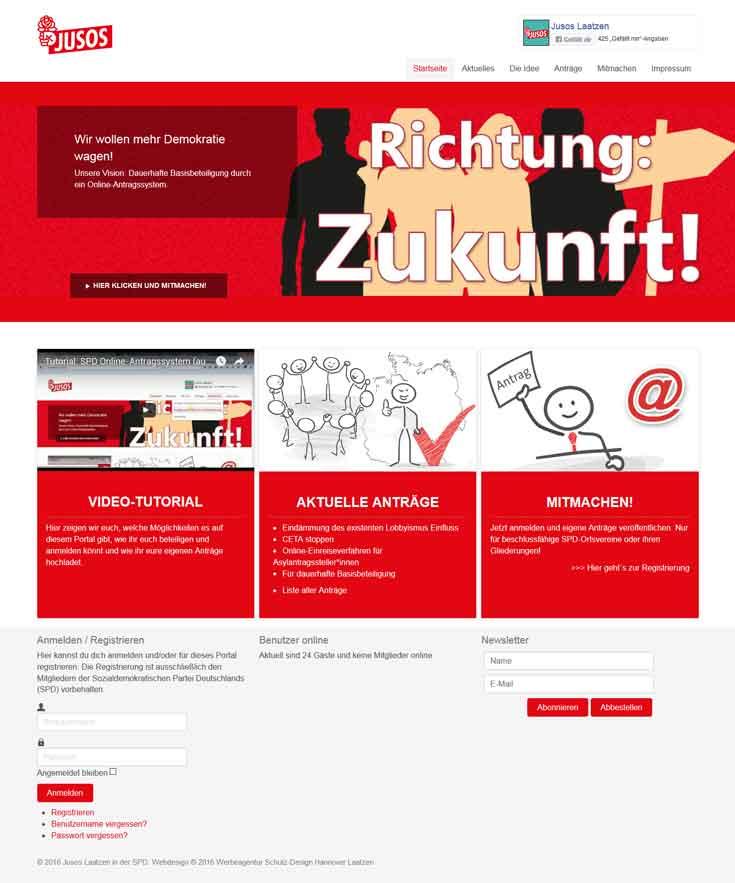 Webdesign Politische Partei SPD Jusos Laatzen
