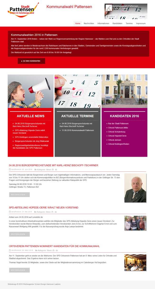 Webdesign, Fotografie und Admin-Vertrag Kommunalwahl Pattensen