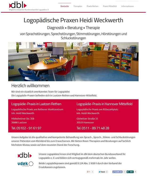 Webdesign Logopädie logopädische Praxen