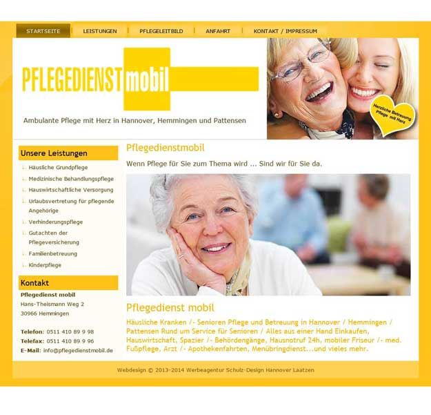 Webdesign Pflegedienst mobil ambulanter Pflegedienst Hemmingen Pattensen