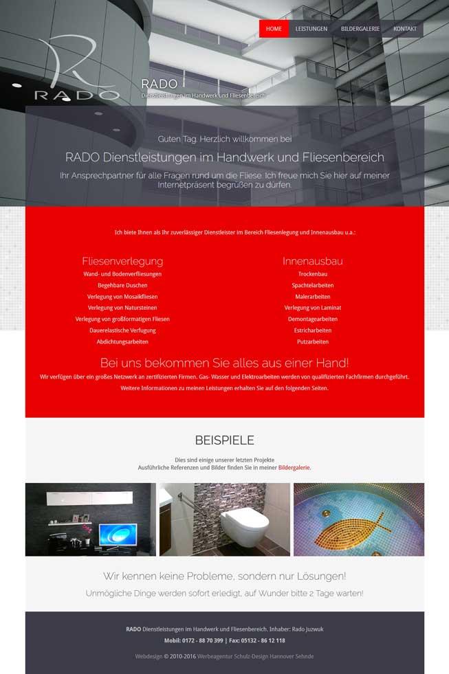 Webdesign Rado Dienstleistungen Fliesenleger Sehnde