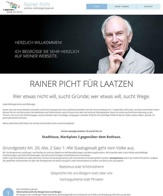 Webdesign Rainer Picht Kandidat für die Kommunalwahl 2016 in Laatzen