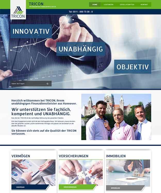 Webdesign TRICON GmbH Finanzdienstleistungen, Hannover