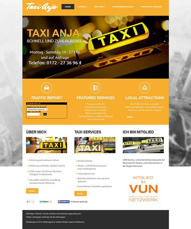 Webdesign Taxidienst Pattensen Taxi Anja