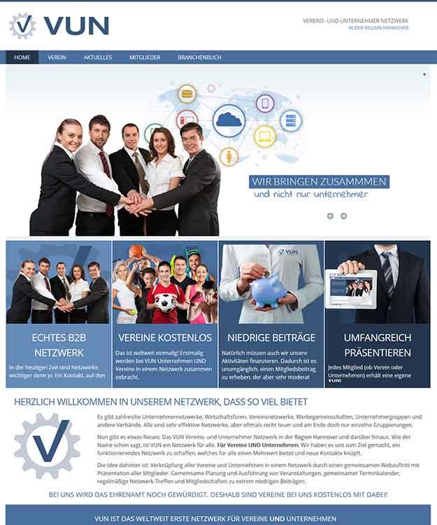Webdesign Vereins und Unternehmernetzwerk - VUN Netzwerk Region Hannover