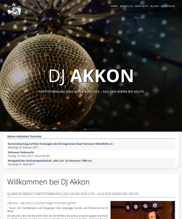 Werbeagentur Hannover - DeeJay Webseite DJ Akkon Hannover Wülfel Sascha Glade