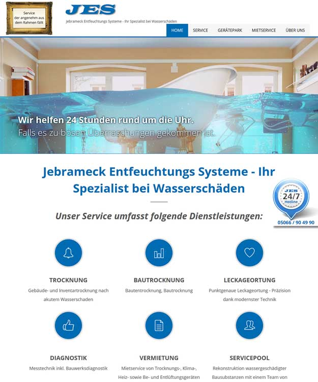 Webdesign Sarstedt - Homepage JES Jebrameck Entfeuchtungs Systeme GmbH, Sarstedt