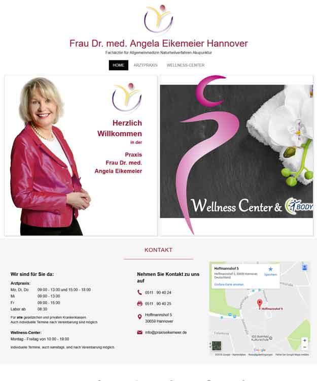 Webdesign Hannover - Praxis Frau Dr. med. Angela Eikemeier Hannover Wellness-Center Bothfeld