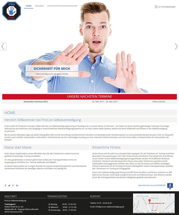 Webdesign Hannover - Homepage  ProCon Selbstverteidigung Hannover Krav Maga Defcon Trainigscenter Hannover Website