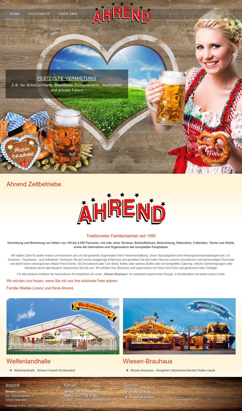 Werbeagentur Hannover - Homepage für Schausteller Webdesign Ahrend Zeltbetriebe Vermietung von Festzelten Schützenfest Hannover