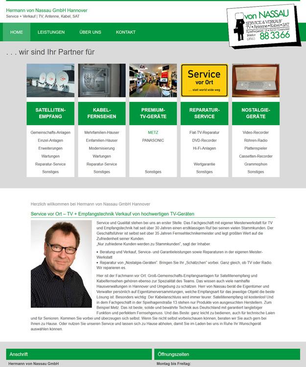 Webdesign Hannover - Homepage  Hermann von Nassau GmbH Hannover Service + Verkauf | TV, Antenne, Kabel, SAT Hannover
