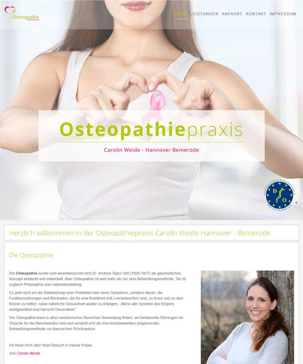 Webdesign Hannover - Homepage Osteopathiepraxis Carolin Weide Hannover - Bemerode Osteopathie Weide Website