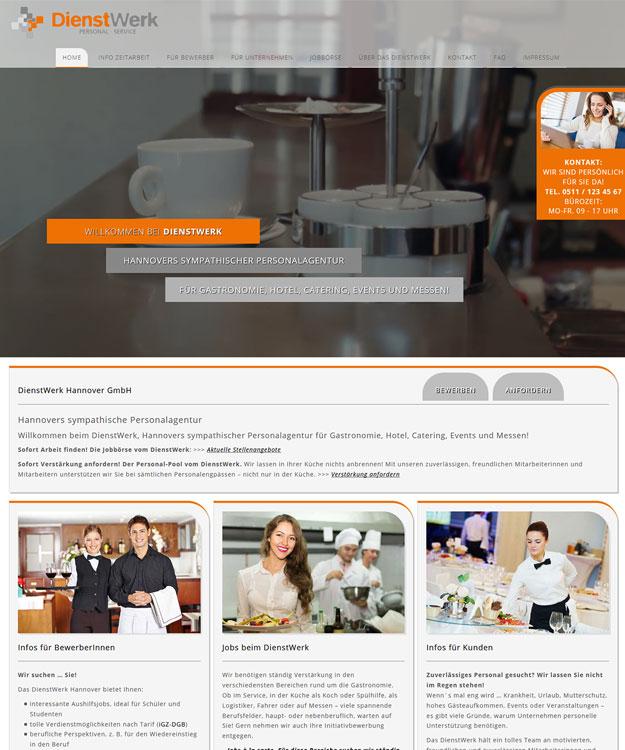 Webdesign - Homepage für Webdesign Hannover - Homepage  DienstWerk Hannover GmbH Zeitarbeit Jobcenter Jobvermittlung Hannover Website