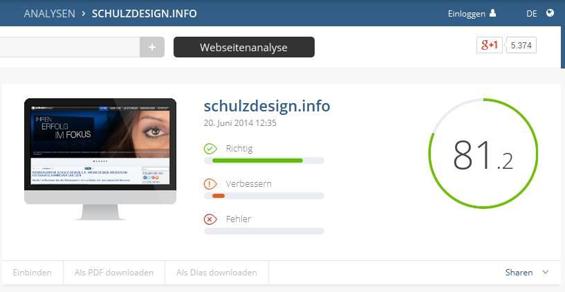 SEO Suchmaschinen Status der Werbeaegentur Schulz-Design