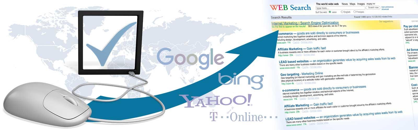 Suchmaschineneintragung   wir tragen Ihre Website in Suchmaschinen ein